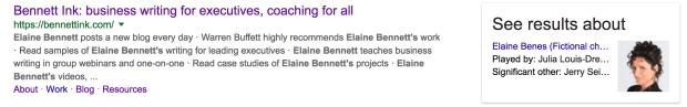 Elaine Bennett, not Elaine Benes