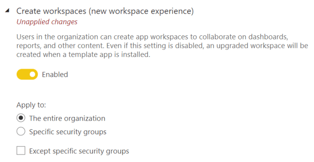 Tenant Settings for Workspace Creation in your tenant