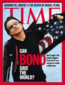 """TIME magazine asks """"Can Bono save the world?"""" Judging from his US flag jacket, the answer is very likely a resounding no."""