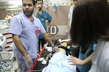 Palestinian kindergartener at a Palestinian hospital, after being run over by a settler  CREDIT: Al-Quds
