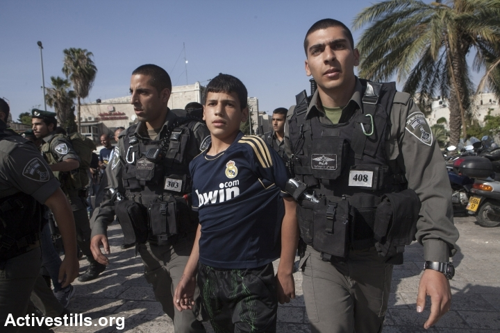 A Palestinian boy detained by Israeli occupation forces CREDIT: ActiveStills