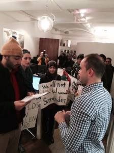 SJP activists in NYC RE/MAX offices  CREDIT: Facebook