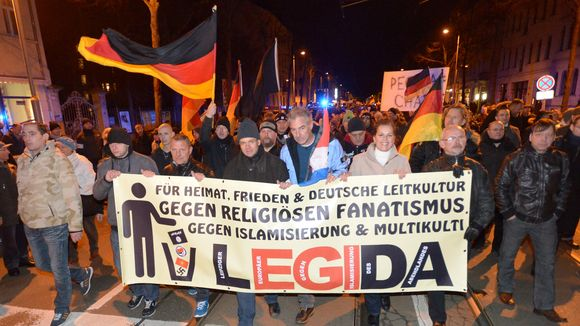 LEGIDA, an even more right-wing spinoff of PEGIDA, holding a march in Leipzig.  CREDIT: Peter Endig / dpa