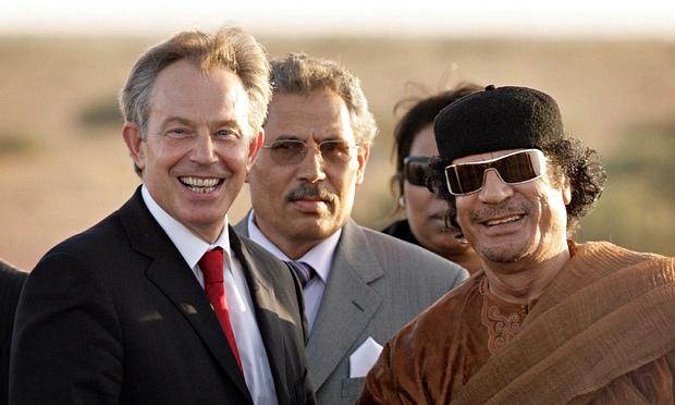 Libyan dictator Muammar Gaddafi with UK Prime Minister Tony Blair  CREDIT: Peter Macdiarmid/Getty Images