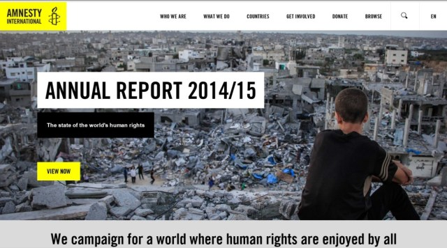 For the front page of its annual report, Amnesty International chose a photo of rubble in Gaza, after Israel's summer 2014 attack.