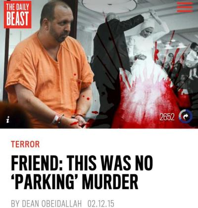 "The provocative graphic accompanying The Daily Beast story ""Friend: This Was No 'Parking' Murder,"" about the Chapel Hill shooting"