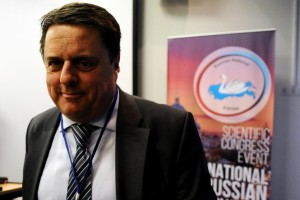 Nick Griffin, longtime ex-leader of the fascist British National Party, at the International Russian Conservative Forum in Saint Petersburg on 22 March 2015 CREDIT: AFP/Olga Maltseva