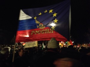 A Russia/EU flag at a PEGIDA march in Dresden in January 2015