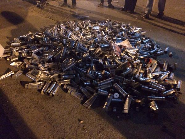 Just some of the tear gas canisters used by  Bahraini police to quell the 14 February 2015 protests