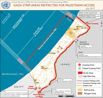 The Gaza areas restricted for Palestinian access, as of July 2012 CREDIT: UN