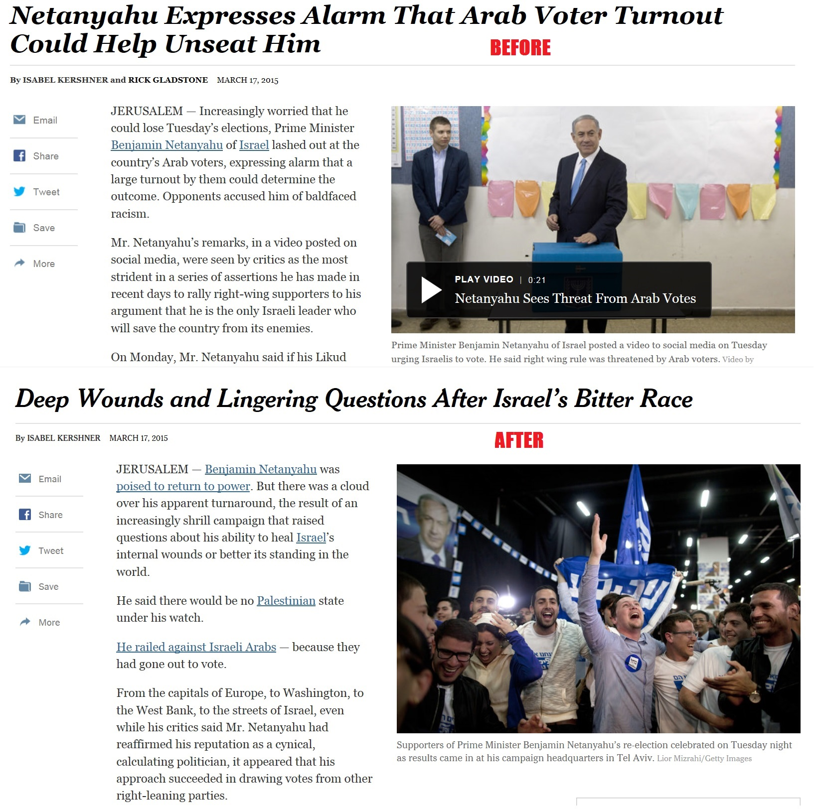 New York Times Published Piece about Netanyahu's Racism, Then Rewrote All of It