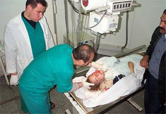 Rachel Corrie in Najjar hospital in Rafah, Gaza, 15 minutes before dying from skull and chest fractures