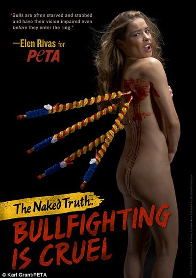 PETA comparing a grievously injured naked woman to a bull