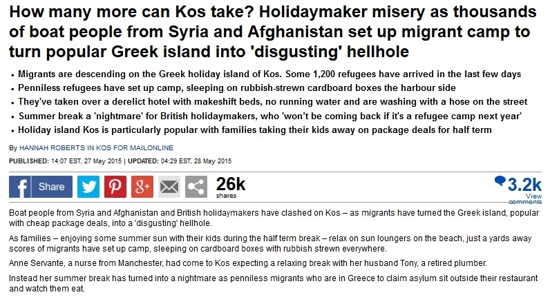"Racist Daily Mail Calls Refugees ""Boat People"" Who Make Vacation Spot ""'Disgusting' Hellhole"""