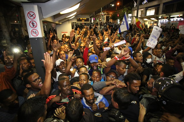 Ethiopian Israelis protest police brutality, in Jerusalem on April 30 CREDIT: Haaretz