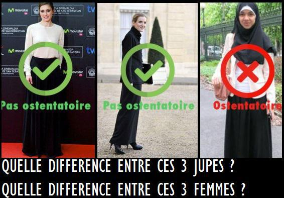 """""""Not ostentatious; Not ostentatious; Ostentatious (from left to right) What is the difference between these three skirts? What is the difference between these three women?"""""""
