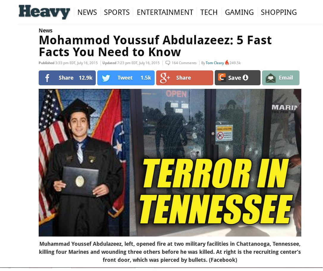 Chattanooga Shooting Reaction: FBI Warns Against Speculation; Media Screams 'TERRORISM!'