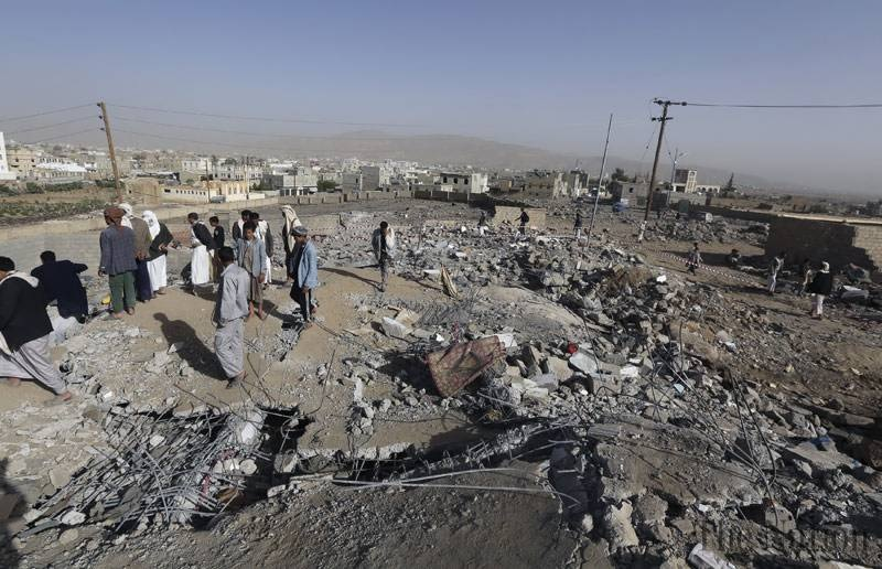 Homes destroyed by coalition airstrikes in April in Yemen's 'Amran Governorate CREDIT: The Nation (Pakistan)