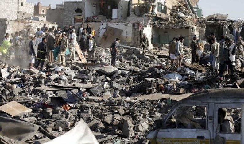 Yemenis search for survivors in the rubble of houses destroyed in coalition bombing in March CREDIT: Reuters