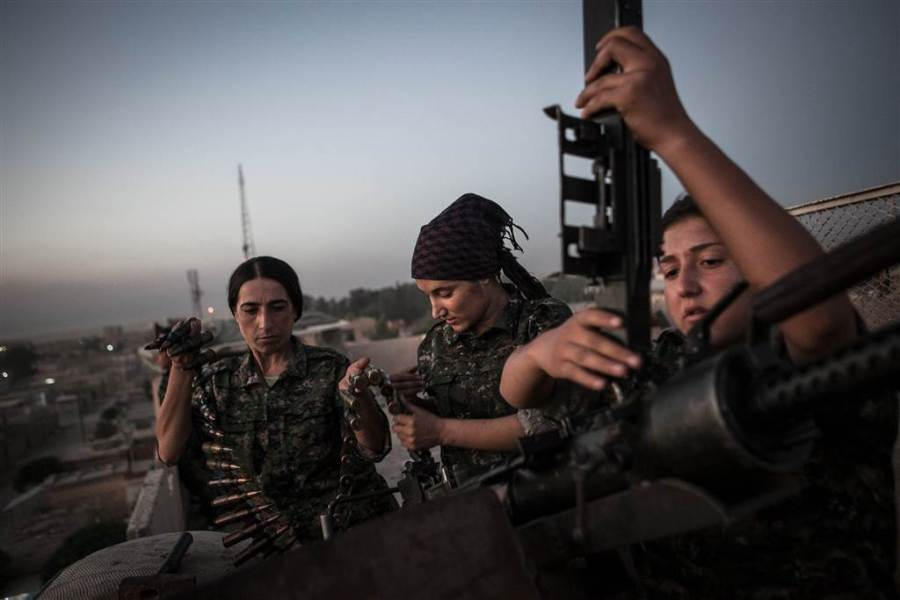 Kurdish female fighters of the PKK-affiliated Women's Protection Units (YPJ) have helped lead the fight against ISIS.  CREDIT: NBC