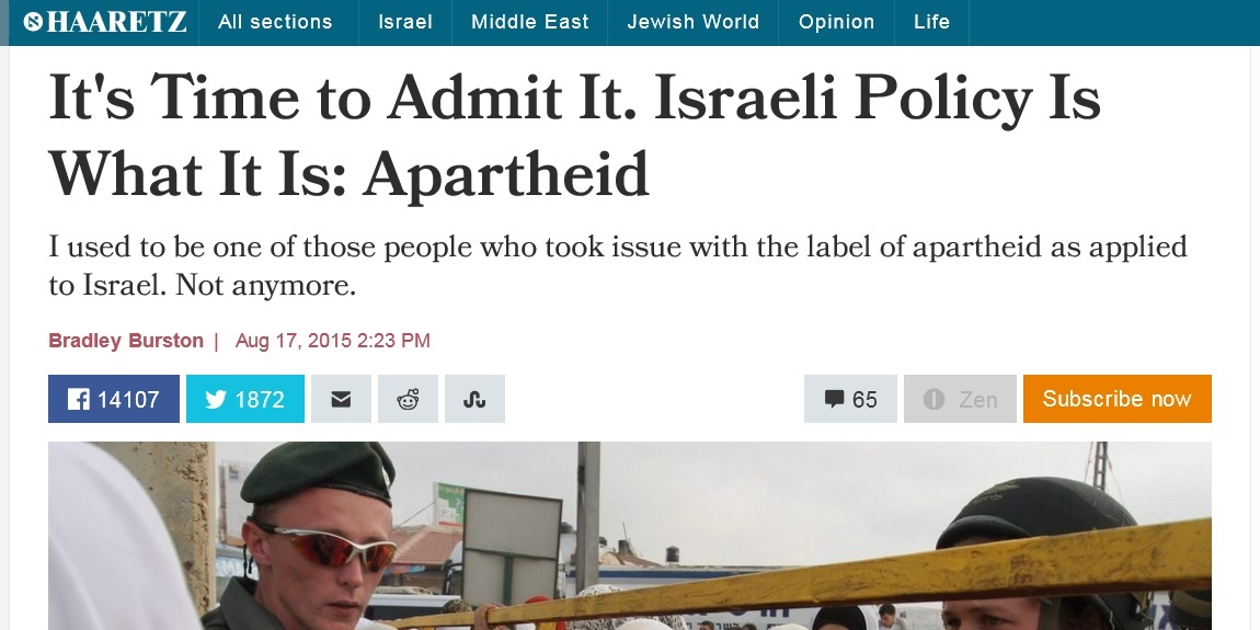 Leading Israeli Journalist Says Israel Is an Apartheid State