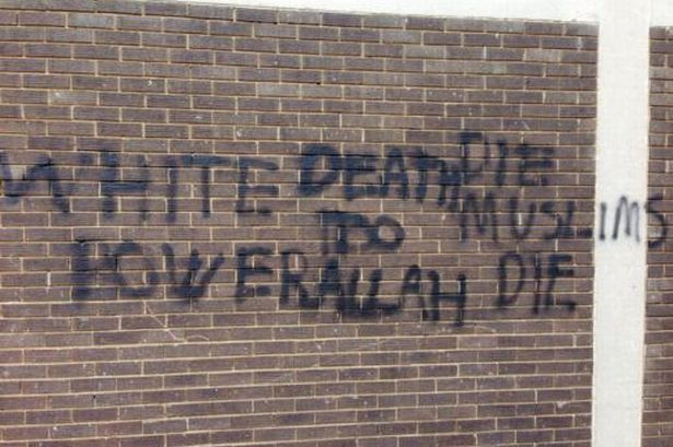 Racist, anti-Muslim graffiti sprayed on a Sikh temple in northern England