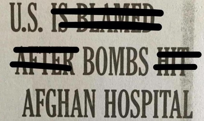 Media Are Blamed as US Bombing of Afghan Hospital Is Covered Up