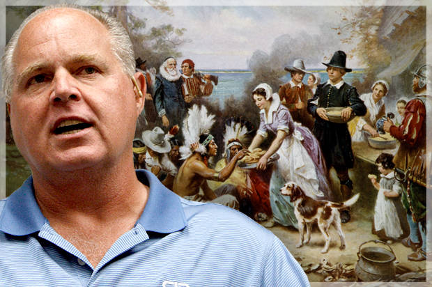 "Rush Limbaugh's ""True Story of Thanksgiving"" is a lie-filled load of stuffing that turns villains into victims"