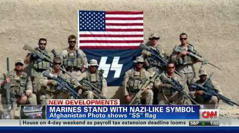 A US Marine Unit in Afghanistan Flies a Nazi Flag