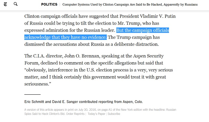 "Clinton campaign has ""no evidence"" for Russia hack conspiracy, NY Times admits in penultimate paragraph"