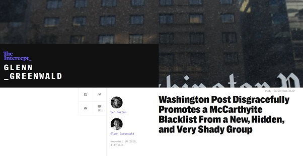 "Washington Post promotes questionable group's blacklist that smears left-wing news sites as ""Russian propaganda"""