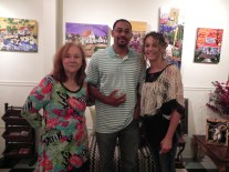 Local artist & writer Linda Meaux, Local Artist Theon Guillory Sr. & Sadie from Sadie's Spa Grooming