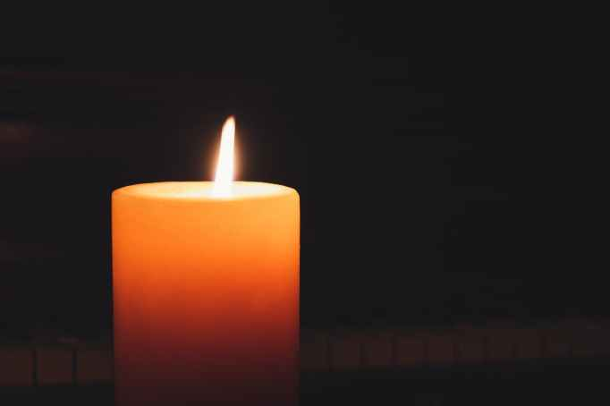 lighted pillar candle