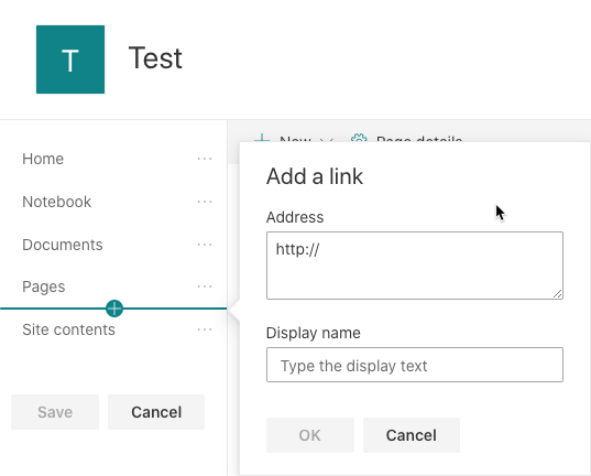 SharePoint Online Quick Launch add a link - no header option