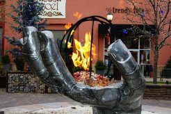 The Burning Hand. 1 of 20 fire sculptures Ben did for the rennovation of the Shops at the Riverwoods in Provo, Utah.
