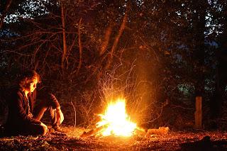 Ben at the Campfire - photo by Mike Gilpin and Benjamin Akira Tallamy
