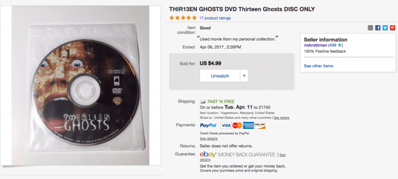 You can sell 'disc only' DVDs on eBay – Bent Corner