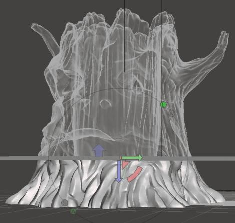 Découpe du tronc de Trunk avec Autodesk MeshMixer.