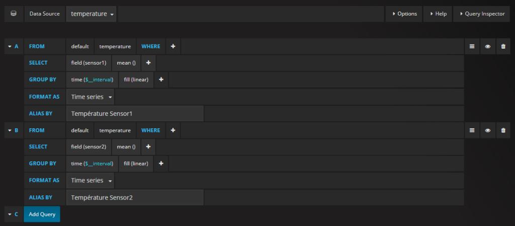 Requêtes InfluxDB pour afficher les données dans Grafana.