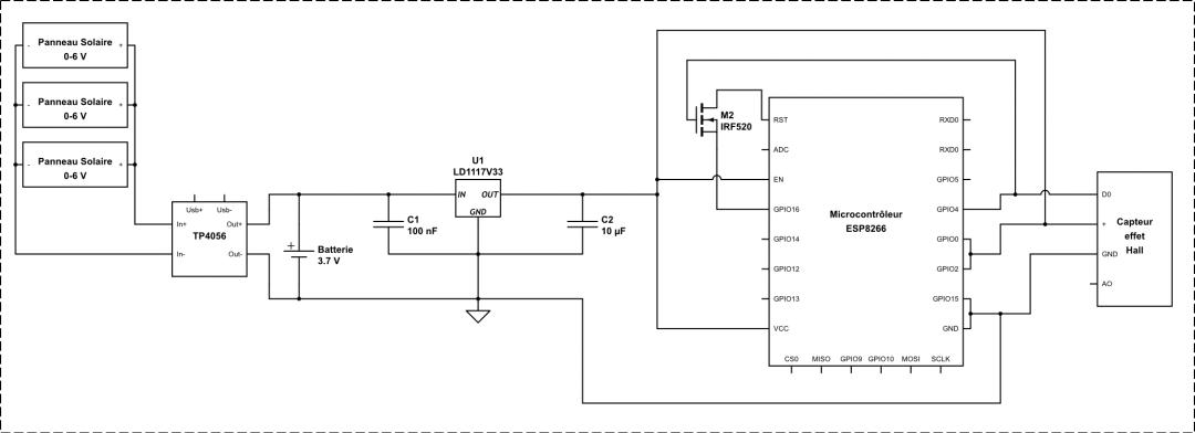 Schéma électronique complet de l'anémomètre connecté !