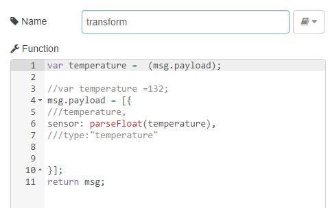 """Le code de la fonction """"transform"""". On place la température en Float dans un objet """"sensor""""."""