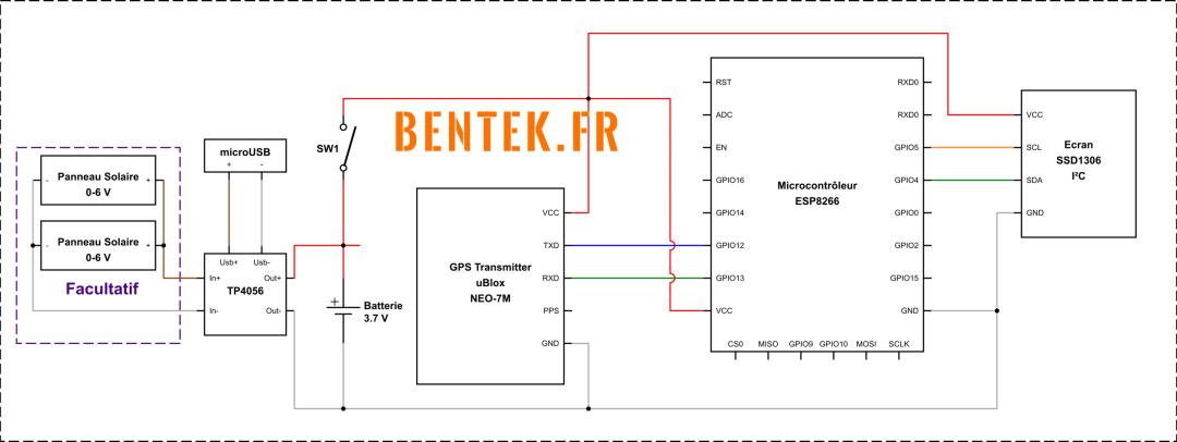 Schéma électronique du traqueur GPS