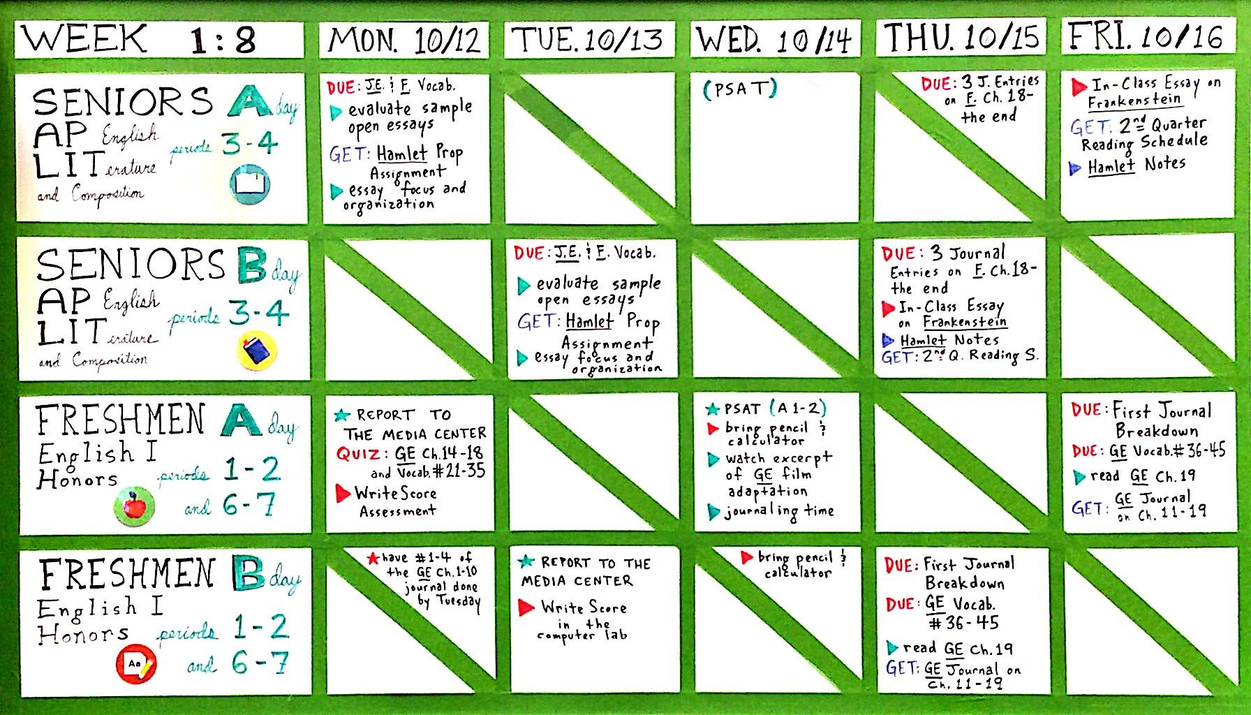Week 1:8 (Oct. 12-16)   BentonEnglish.com