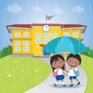 school kids sharing an umbrella in the rain