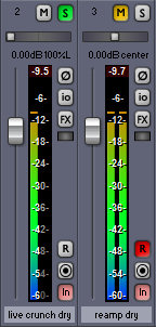 Reamping playback levels