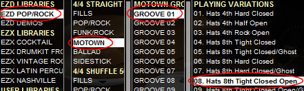 ezdrummer groove selection