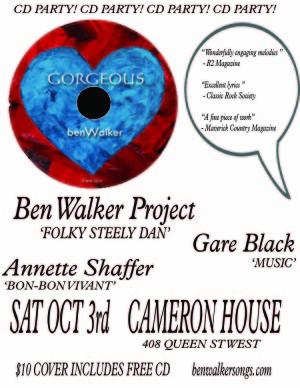 Ben Walker Gigs Gorgeous poster