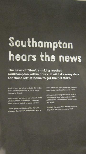 Titanic SeaCity Museum Southampton hears the news