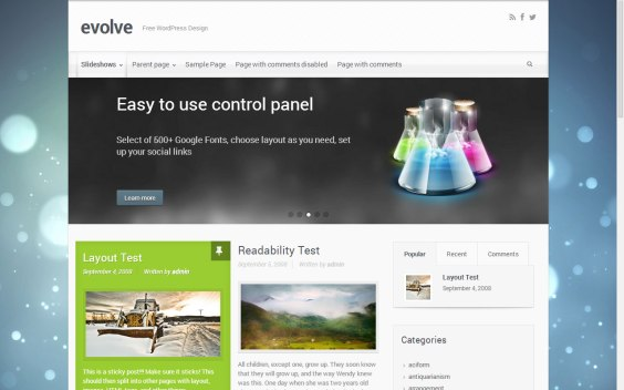 Evolve WordPress theme for writers and authors