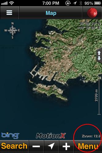 MotionX GPS開始画面